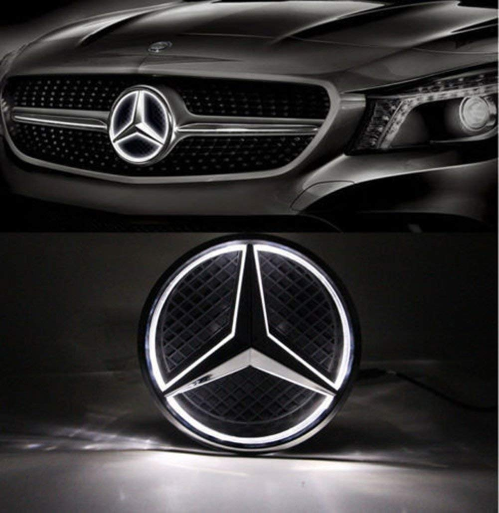 LED Emblem for Mercedes Benz 2013-2015,Car Front Grille Badge, Car Grilled Star, Illuminated Logo Hood Star DRL for Mercedes Benz A B C E R GLK ML GL CLA 250 CLS Class - White Light - Drive Brighter