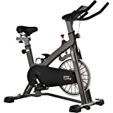 Magnetic Exercise Bike, MEVEM Indoor Cycling Bike, Belt Drive Stationary Bike for Home Gym Workout, Comfortable Seat and LCD