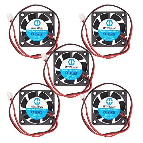 WINSINN 40mm Fan 12V Dual Ball Bearing DC Brushless Quiet Cooling 4010 40x10mm for 3D Printer Extruder Hotend Makerbot MK7 MK8 CPU Chip Arduino - 2Pin 0.1A 1.2W 6000+-5% RPM (Pack of 5Pcs) ()