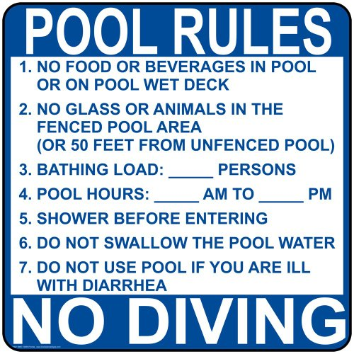 ComplianceSigns.com Aluminum Florida Swimming Pool / Spa Sign, 30 x 30 with English, White