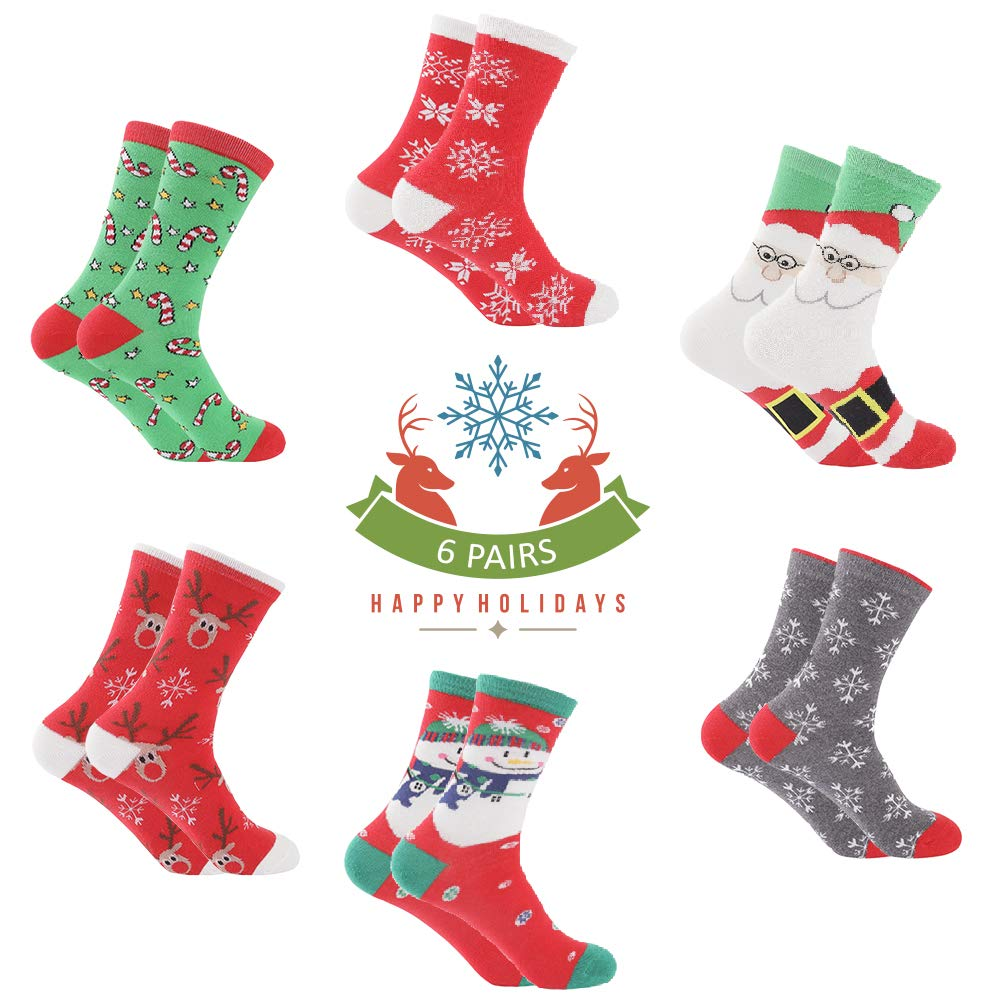 Christmas Socks Women - Santa 6 Pack with Colorful Funny Holiday Xmas Designs - Women\'s Crew Socks - Christmas Socks for Girls Fun Novelty Christmas Gifts | Size 6-9