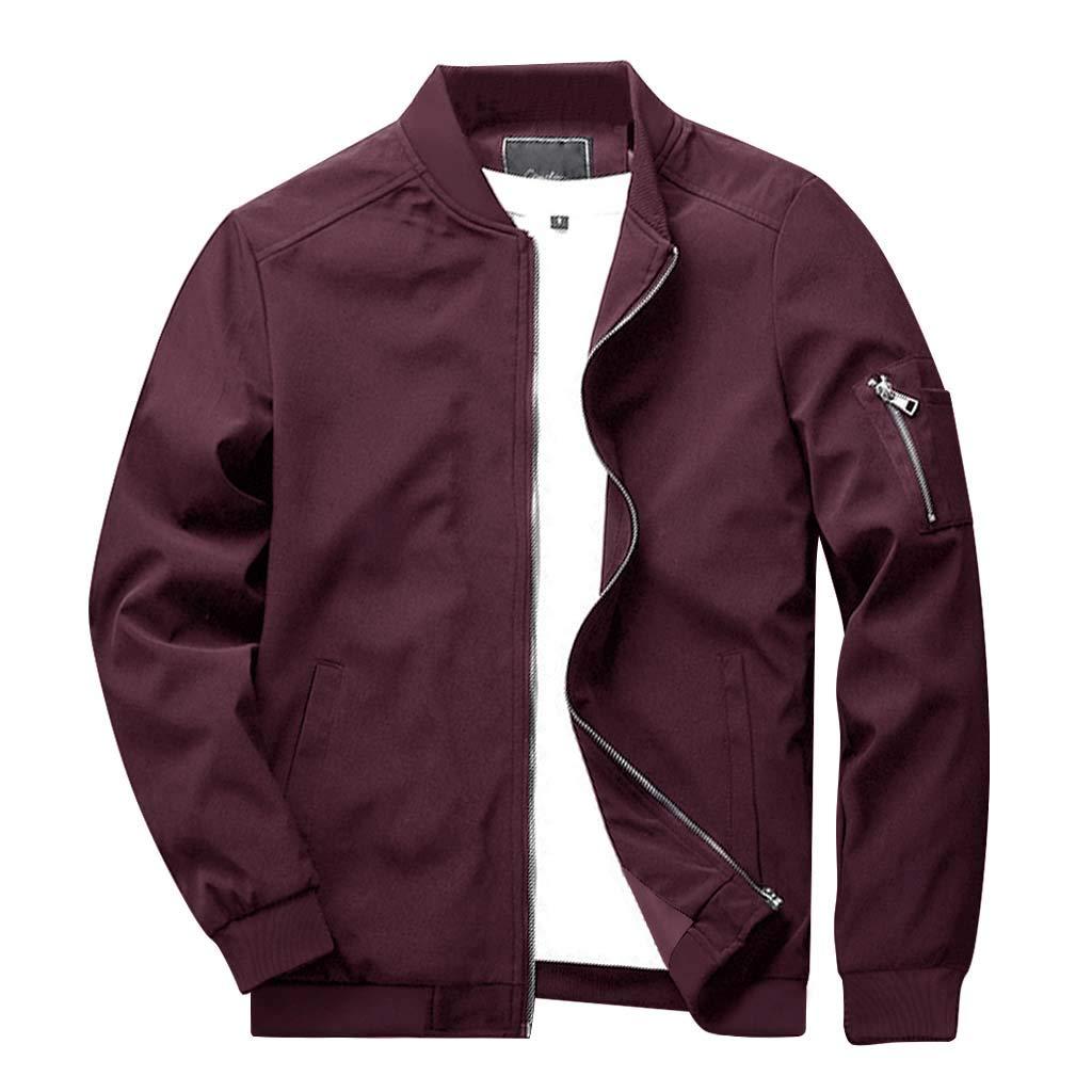 CRYSULLY Men's Fall Fashion Zipper Zip Hip Hop Varsity Baseball Lightweight Breathable Jacket Red by CRYSULLY