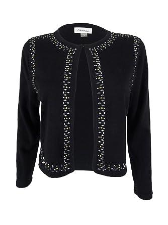 Calvin Klein Womens Petites Embellished Knit Shrug Sweater Black ...