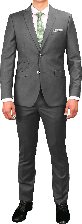 62 Regular New Era Factory Outlet Mens 2 Button Gray Dress Suit