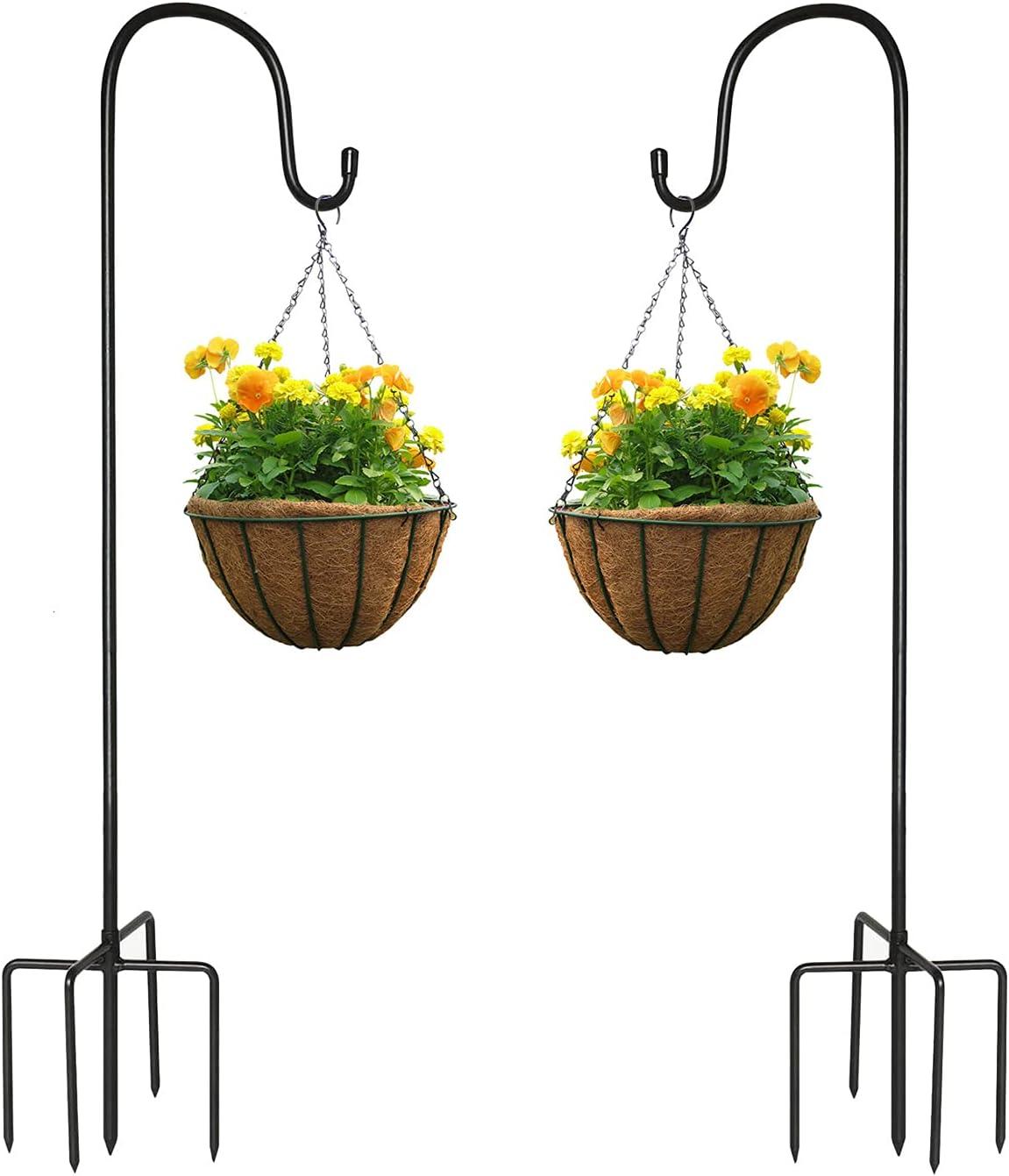 2 Pack Bird Feeder Pole, 38Inch Adjustable Heavy Duty Shepherds Hooks, 5 Prong Plant Hangers Outdoors Metal Hanger Hooks for Garden Plant Hooks for Wedding Decor (Black)