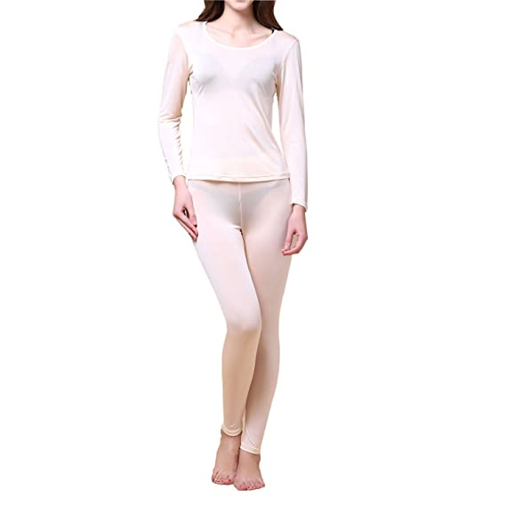 Paradise Silk Pure Silk Knit Women Thermal Long Johns Set