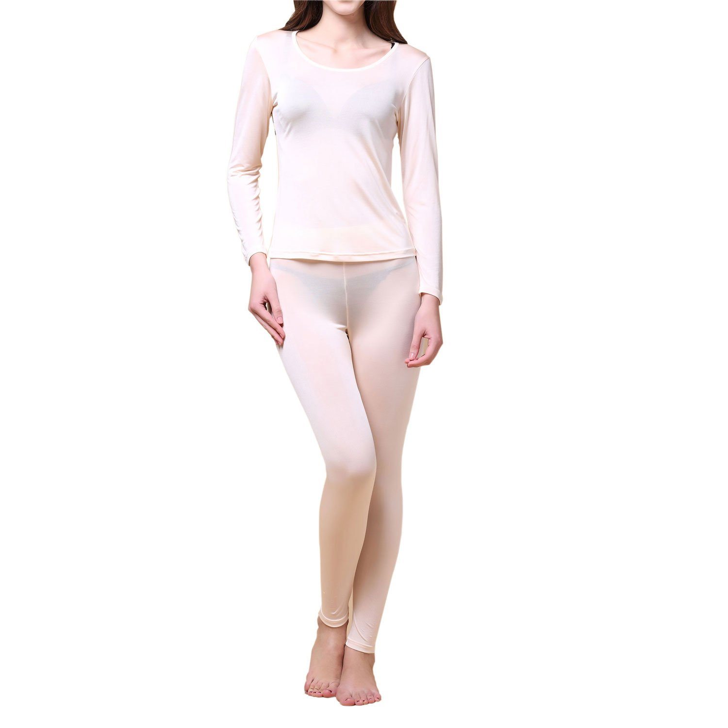 Pure Silk Knit Women Underwear Long Johns Top and Bottom Set[US6,Flesh]