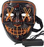 atimier Halloween Mask LED Light up Mask Festival Cosplay Halloween Costume(Orange Light)