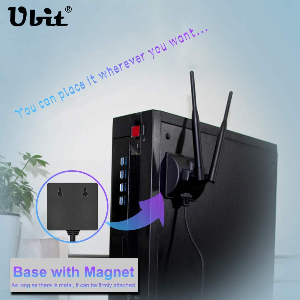 High Gain 360/° WiFi Antenna with Magnetic Base RP-SMA Male Connector Perfect for TV//Router//Wireless WiFi Card etc 2.4GHz//5GHz Dual Band WiFi Antenna with Extension Cable 6.5Ft