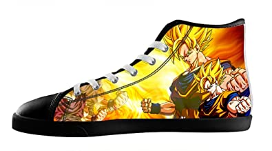 Men s Cartoon Dragon Ball Z Son Goku Shoes Black Lace up High Top Canvas  Sneakers- e358d8968