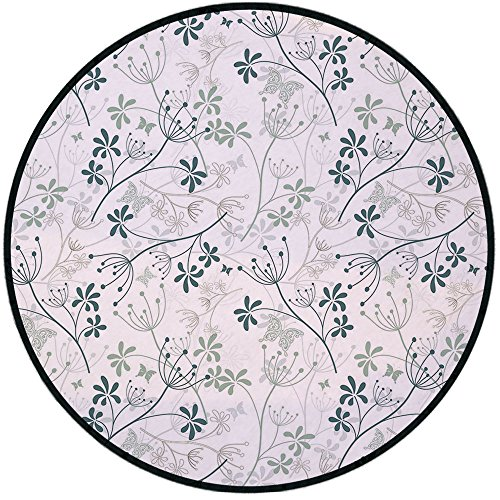 Printing Round Rug,Floral,Spring Branches Herbs Woodland Plants Eco Butterflies Inspiration Theme Mat Non-Slip Soft Entrance Mat Door Floor Rug Area Rug For Chair Living Room,Reseda Green Slate Blue ()