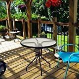 "Goplus 32"" Outdoor Patio Table Round Shape Steel"