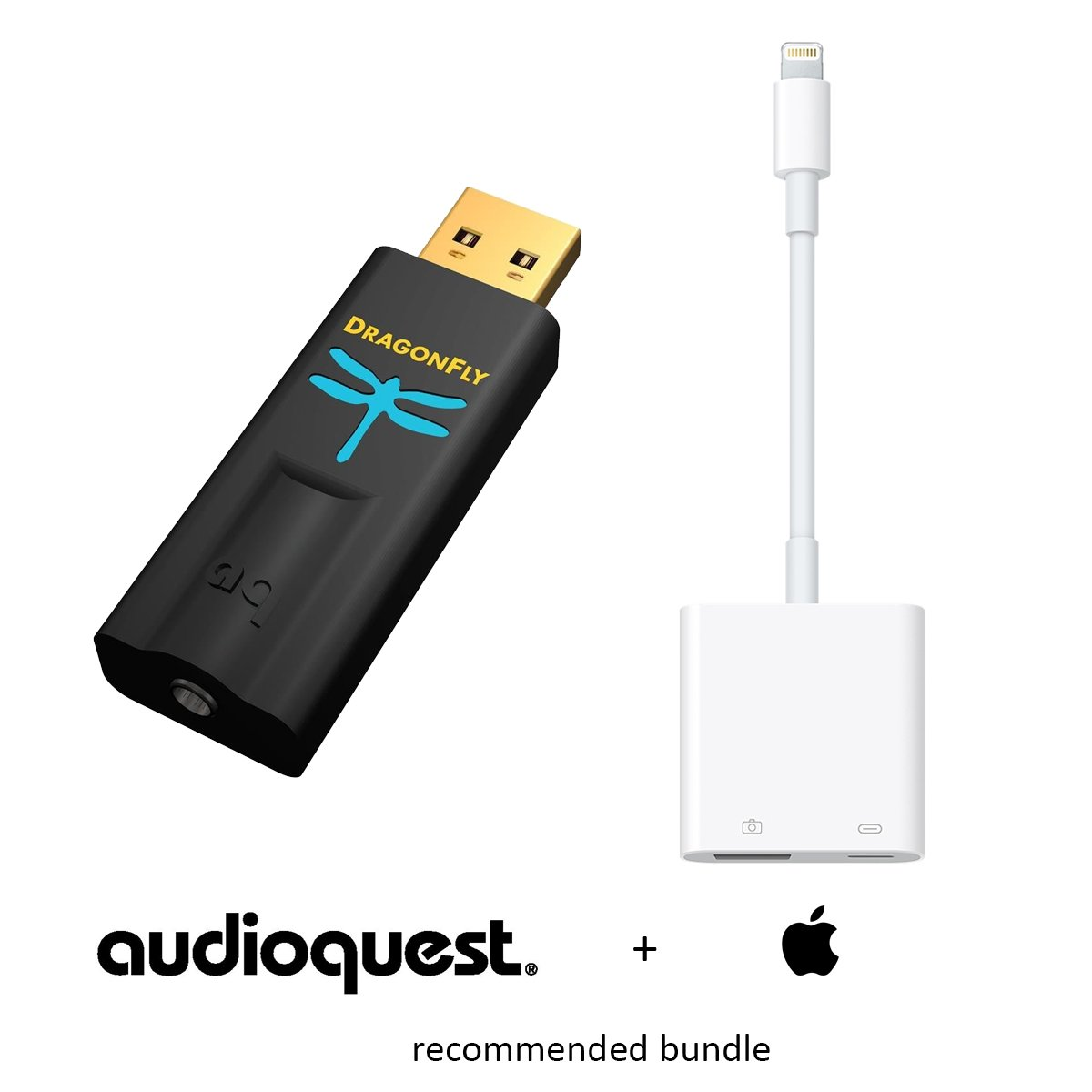 Apple & AudioQuest Preferred Bundle: DragonFly Black v1.5 (USB Preamp, Headphone Amp & DAC) and Apple Lightning to USB 3 Camera Adapter (CCK 3.0)