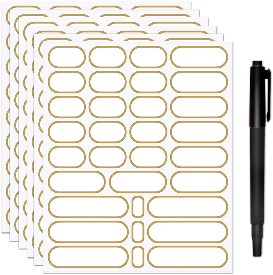 JaoNanl Removable Pantry Labels,Waterproof Stickers for Handmade Items,Spice,Food Containers,Jars,Storage Bins,Bottles,Gift Labels with Marker Pen,4 Sizes,Pack of 192(Gold)