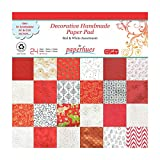 Paperhues Red-White Christmas Collection 12x12'' Pad, 24 Sheets. Decorative Specialty Handmade Origami Papers for Gift Wrap, Card Making, Scrapbooking, Decor, Art and Craft Projects.
