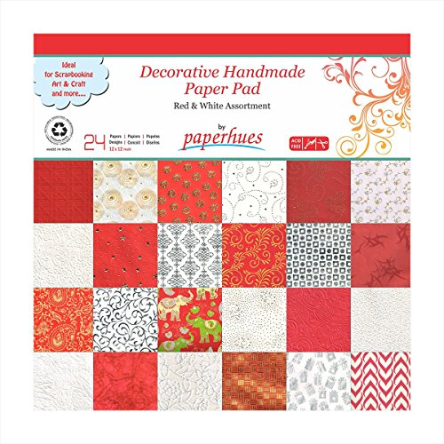 Paperhues Red-White Celebration Collection 12×12 Pad, 24 Sheets. Decorative Specialty Handmade Origami Papers for Gift Wrap, Card Making, Scrapbookin…