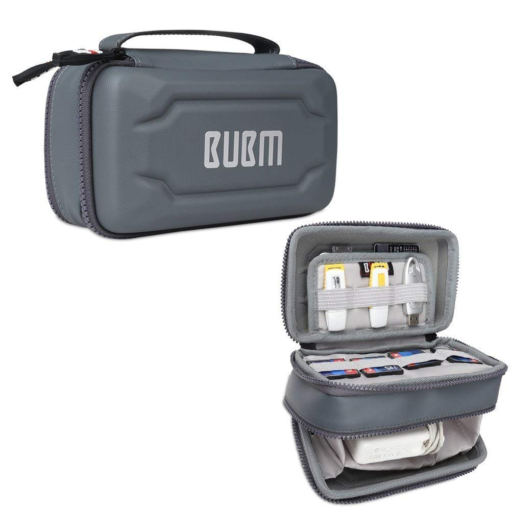 UBM Eva Electronic Accessories Organizer Case, Travel Gadget Bag with Handle, Perfect for Cables, USB Drives, Batteries, Memory Cards (Double Layer Gray)