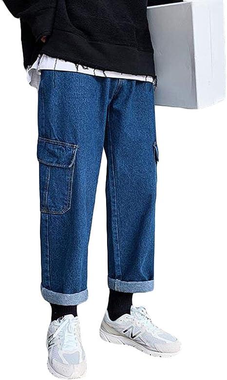 [YYQ-SHOP]メンズ ワイドパンツ デニム ゆったり ロングパンツ ポケット付き ジーンズ ストレート おしゃれ ジーパン カジュアル ストリート系 デニムパンツ 秋