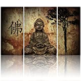 Visual Art Buddhist Love, 3pcs Framed and Ready Wall Hang, Buddha Canvas Prints, Home Decor Paintings