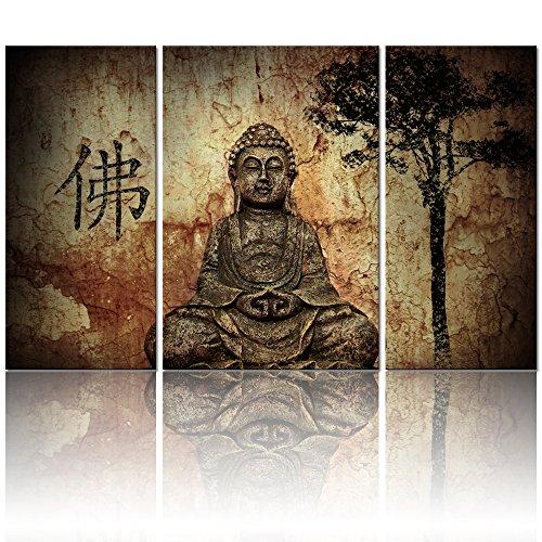 (Visual Art, Buddhist Love, 3pcs Framed and Ready Wall Hang, Buddha Canvas Prints, Home Decor Paintings)
