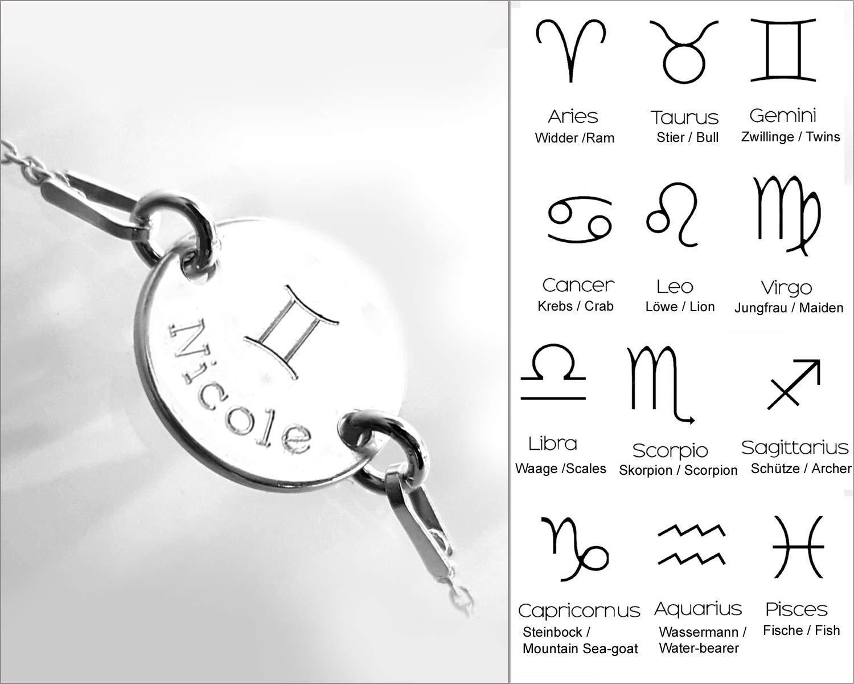 Individeller Text Sternzeichen Armband mit Gravur Silberarmband Name LATIGGA Silber 925