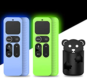 [2Pack] Protective Case Compatible for Apple TV 4K 5th, 4th Gen Remote,Remote Case Holder Skin for Apple TV Siri Remote Control,Anti-Slip Shock Absorption Remote Back Cover (Glow Green+Glow Blue)