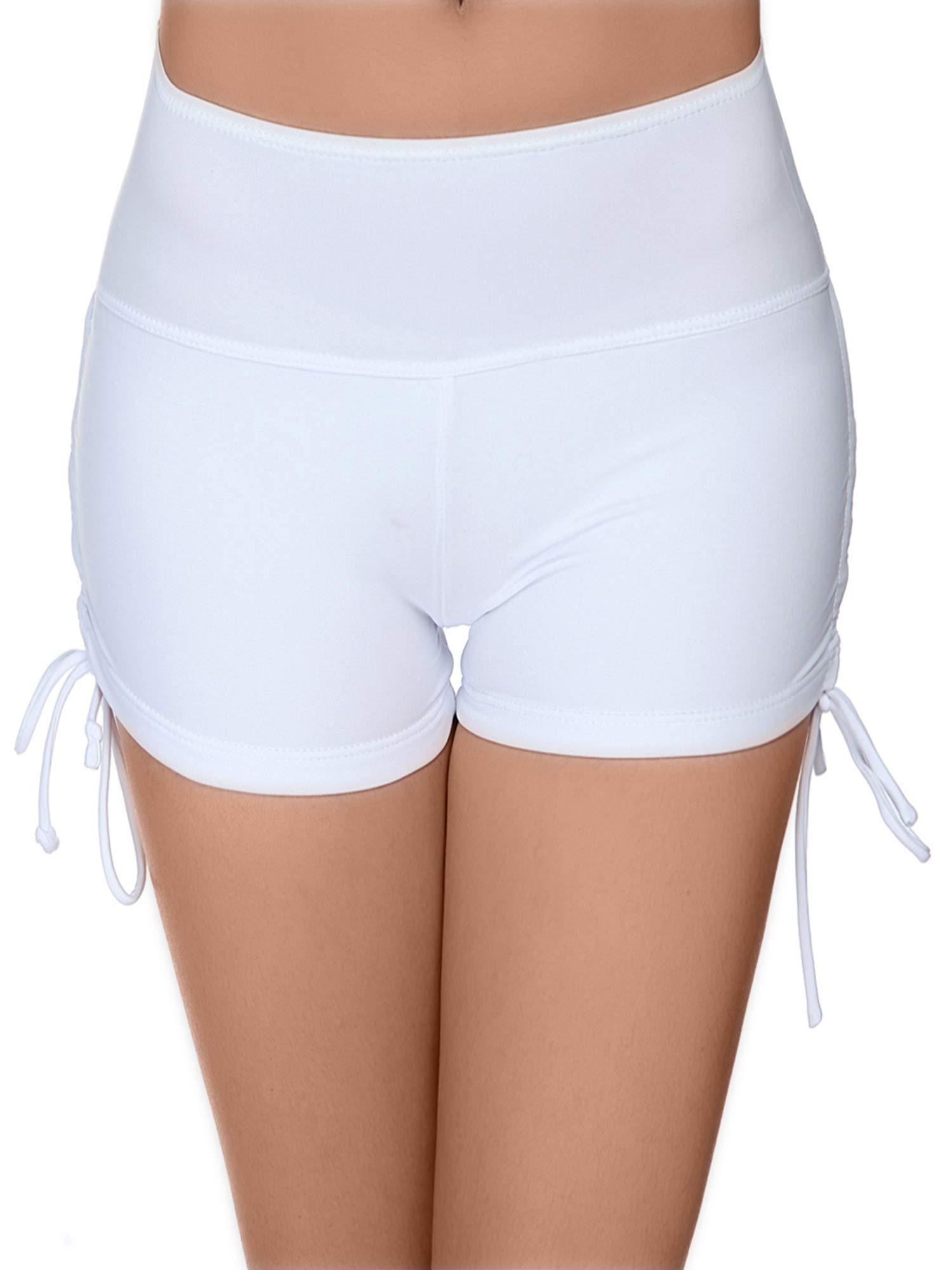 Hestya Women's Swim Shorts Solid Swimsuit Bottoms Quick Dry Swim Board Shorts with Adjustable Ties, Black, S - XXXL (S, White)
