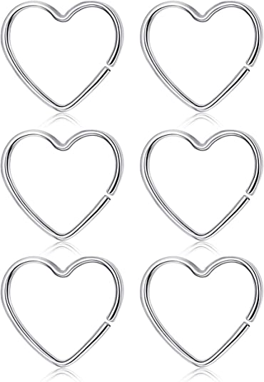Amazon Com Sllaiss 3pairs Open Heart Nose Rings For Women 925