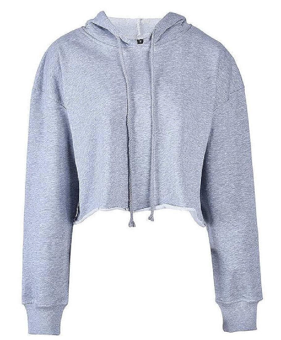 Fubotevic Women Cotton Long Sleeve Stylish Drawstring Crop Pullover Hoodie Sweatshirt
