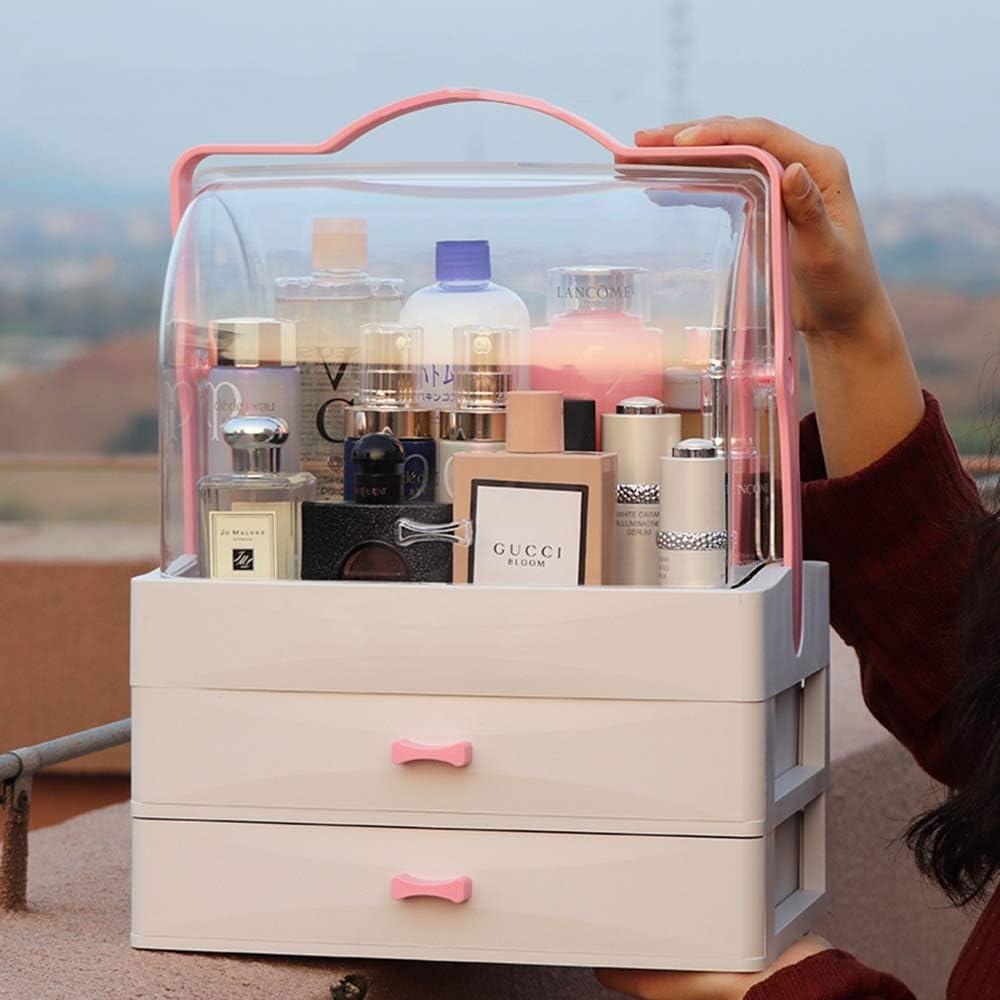 Organizador de maquillaje a prueba de polvo, productos de cuidado de la piel transparentes portátiles para dormitorios y joyería. Tocador grande con cajones de exhibición, 11