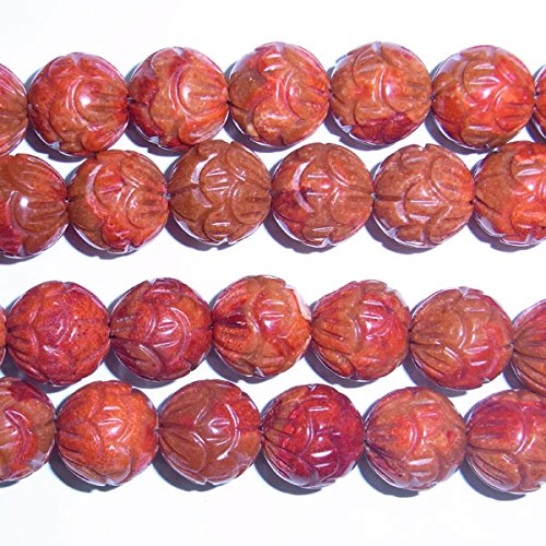 TheTasteJewelry 10mm Round Fruit Carved Red Coral Beads 15 inches 38cm Jewelry Making Necklace Healing (Red Coral Nugget Beads)