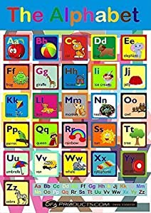 Maxi Tamaño De colores Educativo ABC Cartel Con 10 GRATIS