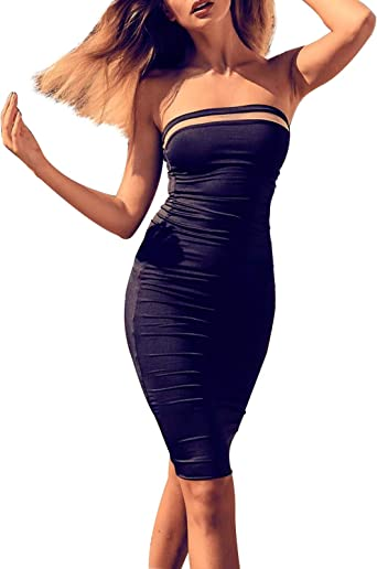 Hego Women's Hollow Out Club Night Out Sexy Bodycon Bandage Dress H4431 (L,  Black-2) at Amazon Women's Clothing store