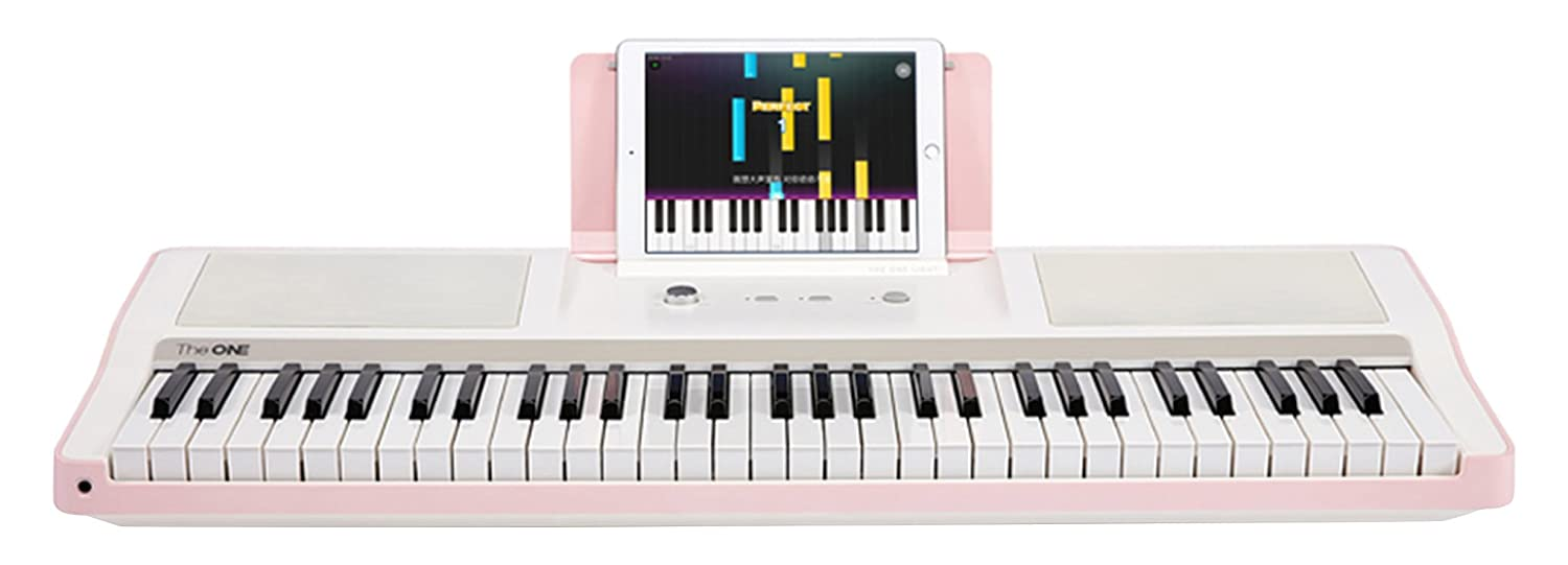 The ONE Smart Piano Keyboard with Lighted Keys, Electric Piano 61 keys, Home Digital Music Keyboard, Teaching Portable Keyboard Piano, Pink The ONE Music Group TOK1P
