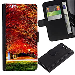 Planetar® Modelo colorido cuero carpeta tirón caso cubierta piel Holster Funda protección Para Sony Xperia Z3 Compact /D5803 / D5833 ( Autumn maple forest )