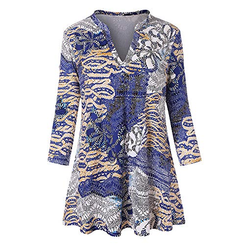 DEATU Womens Fashion O-Neck Casual Floral Print Shirts Cool 3/4 Sleeves Tunic Blouse Tops