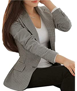 Betrothales Blazer Negocios A Mujer Traje Americana Oeste Ocio Cuadros Formal Solapa Abrigo Invierno Prendas Exteriores