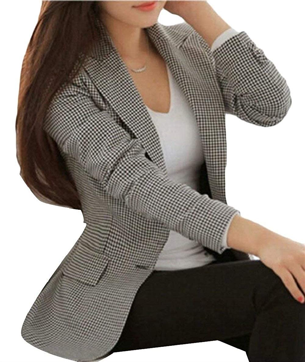 Betrothales Blazer Negocios A Mujer Traje Americana Oeste Ocio Cuadros Formal Solapa Abrigo Invierno Prendas Exteriores Bolsillos Delanteros Manga Larga Slim Fit