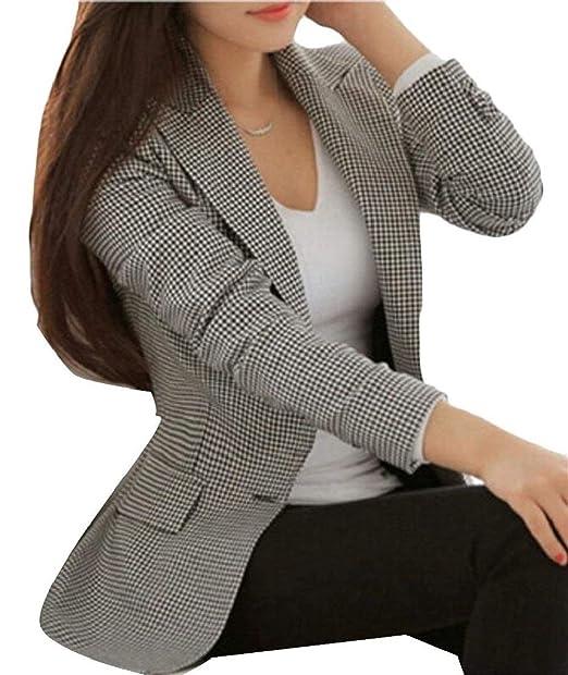 Betrothales Blazer Negocios A Mujer Traje Americana Oeste Ocio Cuadros  Formal Solapa Abrigo Invierno Prendas Exteriores Bolsillos Delanteros Manga  Larga ... ab1c61e5a605
