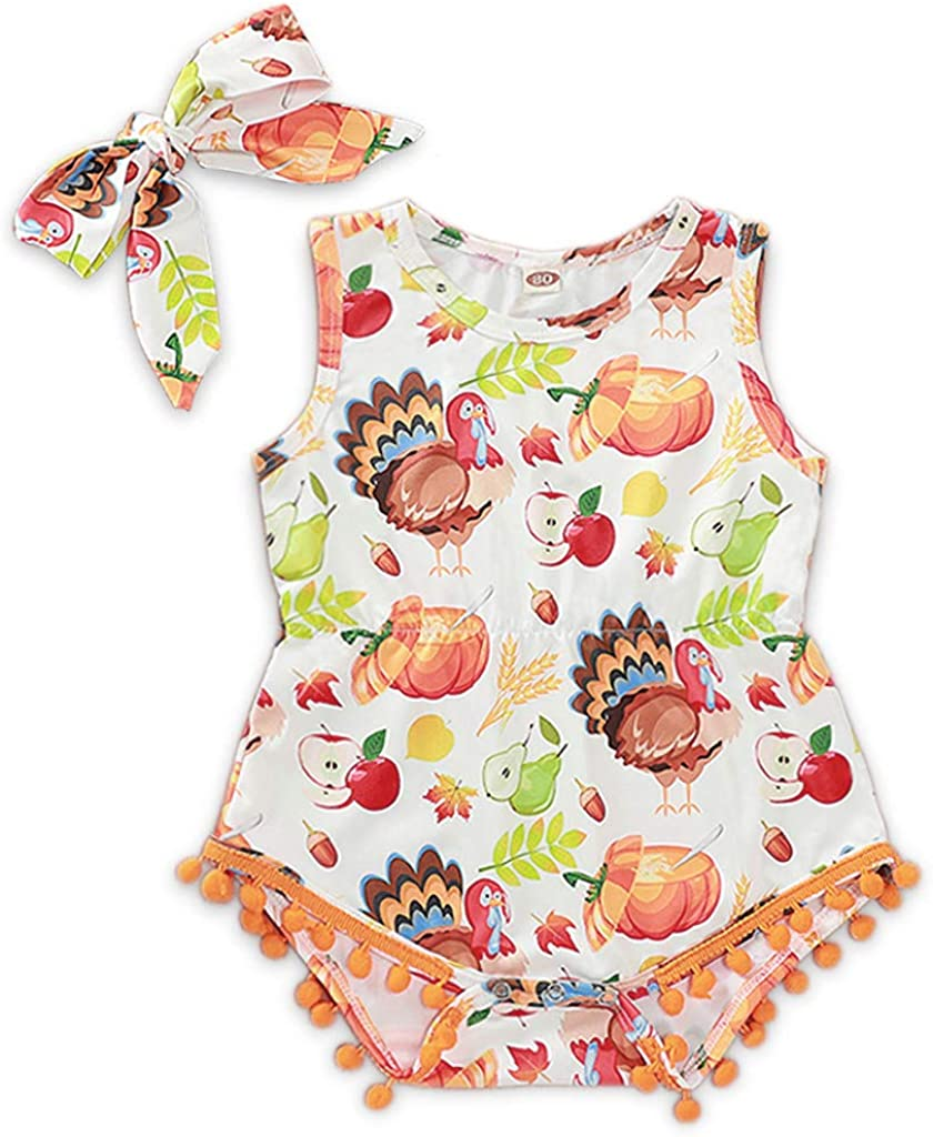Infant Baby Girls Thanksgiving Turkey Pumpkin Printing Sleeveless Tassel Romper Bodysuits