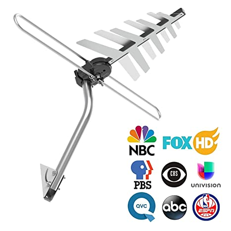 Outdoor TV Antenna, CHARAVECTOR 150 Miles Range Digital HDTV Antenna with  VHF/UHF Signal, Built-in High Gain and Low Noise Amplifier, Mounting Pole