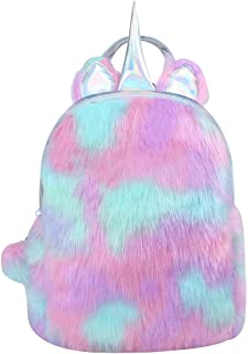 Alpacasso Cute Plush Rainbow Unicorn Backpack, Soft Rainbow Backbag Shiny Mini Peluche Unicorn Backpack for Girls Zaino da viaggio per bambini.