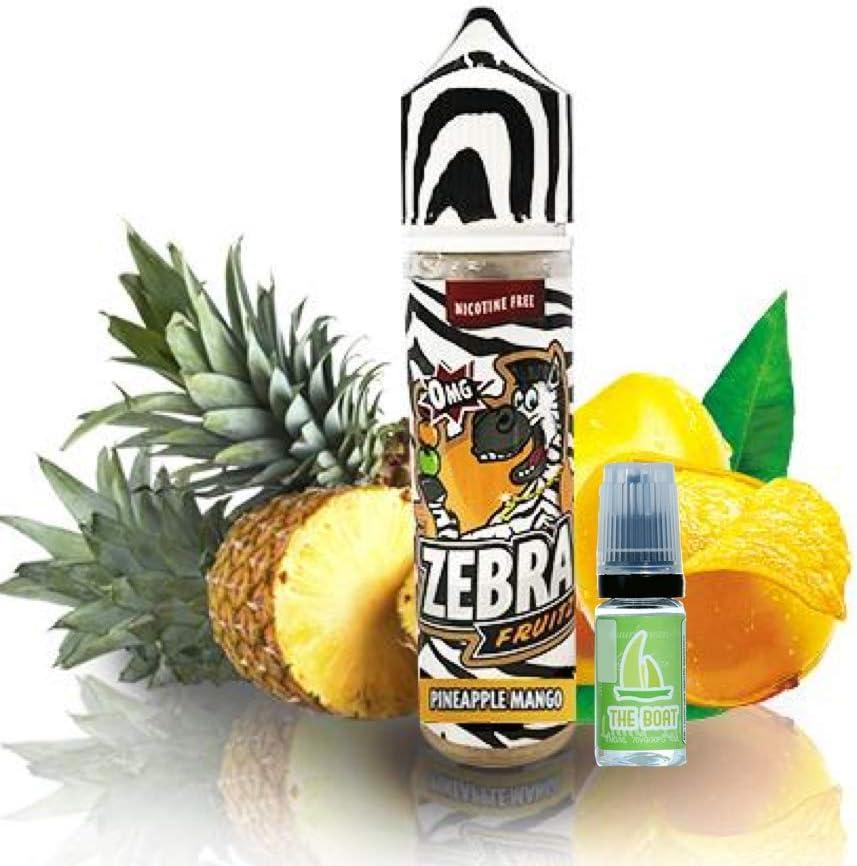 E Liquid Zebra Juice Fruitz Pineapple Mango 50ml - 80vg 20pg + E Liquid The Boat 10 ml lima limón - Pack de 2 líquidos para cigarrillo electrónico. Ambos liquidos contienen 0,0mg de nicotina.