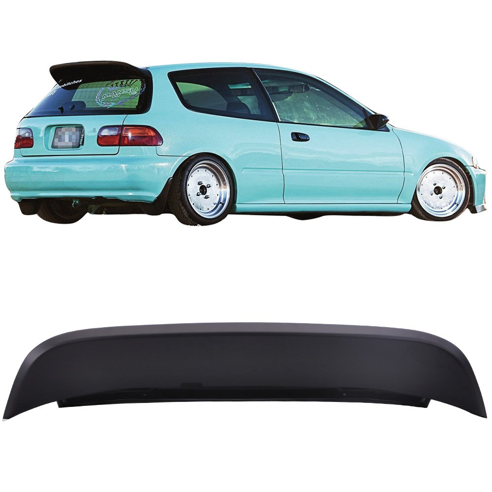 Pre-painted Roof Spoiler Fits 1992-1995 Honda Civic | Duckbill SPOON Style Painted Matte Black ABS Rear Wind Visor Spoiler Wing Other Color Available By IKON MOTORSPORTS | 1993 1994