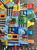 Thomas the Tank Engine Train ~ Small Security Blanket with Ribbon Tabs