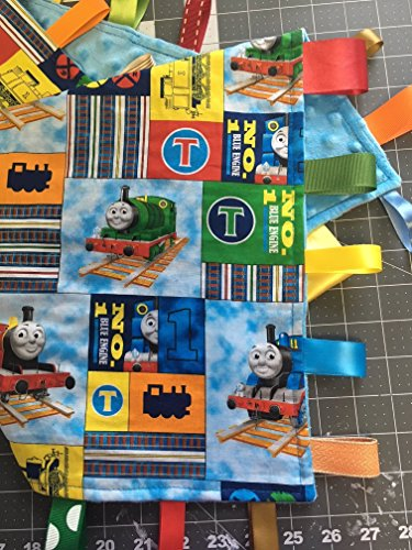 Thomas the Tank Engine Train ~ Small Security Blanket with Ribbon Tabs by Kristmas in July