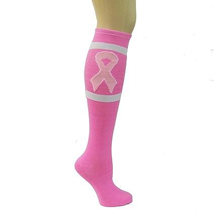 Amazon.com: Pink Ribbon Breast Cancer Awareness Knee High Socks ...