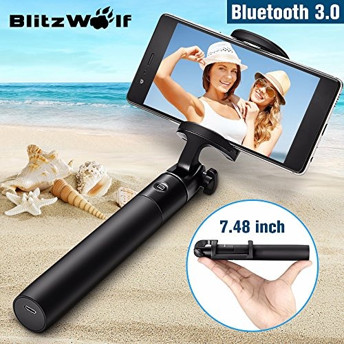 Bluetooth Selfie Stick for iPhone 7 7 plus 6 6s 6s plus 5s Samsung s7 s7 edge Android 3.5-6 inch Smartphones - BlitzWolf 3 in 1 Mini Extendable Monopod with Micro USB Cable 270° Rotation(Black)