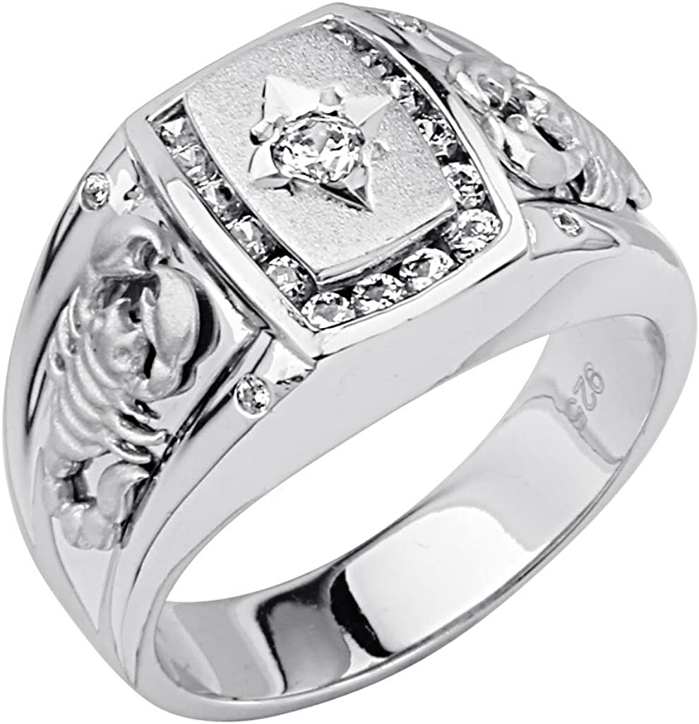 Wellingsale Mens 925 Sterling Silver Polished Rhodium CZ Cubic Zirconia Scorpion Ring