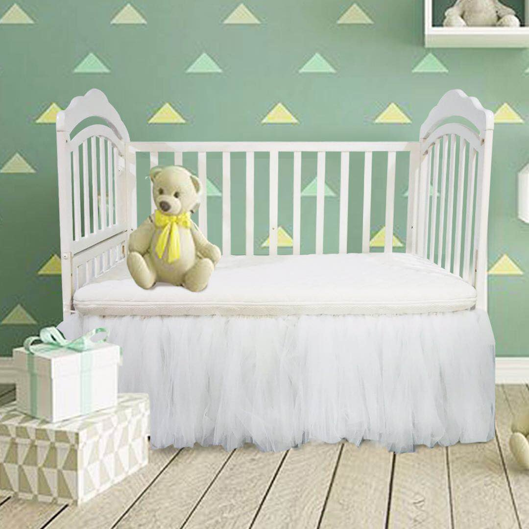 CO-AVE White Crib Skirt Baby Ruffle Baby Bed Skirt Portable Tulle Tutu Crib Skirt Handmade Boys Girls Birthday Party,Baby Shower &Baby Room Decoration,16'' Drop,One Side